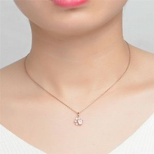 Pink Crystal Paw Print Necklace Rose Gold NEW